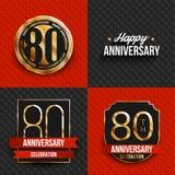 80 Jahre Jahrestagslogos auf den roten und schwarzen Hintergründen Lizenzfreie Stockbilder