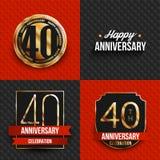 40 Jahre Jahrestagslogos auf den roten und schwarzen Hintergründen Stockfotografie