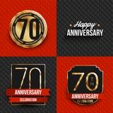 70 Jahre Jahrestagslogos auf den roten und schwarzen Hintergründen Lizenzfreies Stockfoto