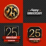 25 Jahre Jahrestagslogos auf den roten und schwarzen Hintergründen Lizenzfreie Stockfotos