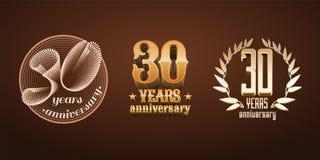 30 Jahre Jahrestagssatz des Vektorlogos, Ikone, Zahl Lizenzfreie Stockfotos