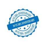 10 Jahre Jahrestagsstempel-Illustration Lizenzfreie Stockfotografie