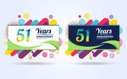 51 Jahre knallen moderne Gestaltungselemente des Jahrestages, bunte Ausgabe, Feierschablonenentwurf, Knallfeier-Schablonenentwurf vektor abbildung