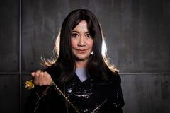 Jahre 50s 60s altes Mode-Asiatin-Porträt lizenzfreies stockfoto