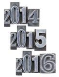 Jahre 2014, 2015 und 2016 Stockbilder