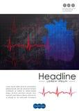 Jahresberichtabdeckungsdesign mit menschlichem Herzen und Herzschlag zeichnen Lizenzfreies Stockbild