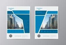 Jahresberichtbroschürenbroschüren-Fliegerschablone des Vektors blaue lizenzfreie abbildung