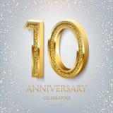 10. Jahrestag, der goldenen Text und Konfettis auf hellblauem Hintergrund feiert Jahrestagsereignis der Vektorfeier 10 lizenzfreie abbildung