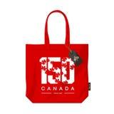 Jahrestag 150 der Gründung Kanada-Ahornblattbeschaffenheitszahl eco des Tasche lokalisierten Vektordesigns lizenzfreie abbildung