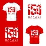 Jahrestag 150 der Gründung Kanada-Ahornblattbeschaffenheitszahlt-stück des Druck lokalisierten Vektordesigns vektor abbildung