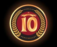 10. Jahrestag, der klassischen Vektorlogoentwurf feiert lizenzfreie abbildung
