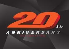 20. Jahrestag, der rote Farbe des Logos 3d auf grauem backgroun feiert stock abbildung