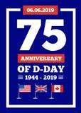 Jahrestag des Invasionstags 75. der Marinelandungsoperation während des zweiten Weltkriegs durch die Kräfte der USA, groß lizenzfreie abbildung