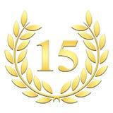 Jahrestag des Lorbeerkranzes fünfzehnte auf einem weißen Hintergrund stock abbildung