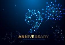 Jahrestag 9 Geometrische polygonale Jahrestagsgrußfahne Zahlen des Gold 3d stock abbildung