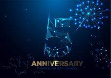Jahrestag 5 Geometrische polygonale Plakatschablone für das Feiern der 5. Jahrestagsereignispartei rote, orange, gelbe Farben Nie vektor abbildung