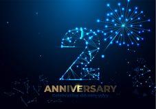 Jahrestag 2 Geometrische polygonale Plakatschablone für das Feiern der 2. Jahrestagsereignispartei rote, orange, gelbe Farben Nie stock abbildung