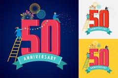 Jahrestag - Hintergrund mit den Leuten, die Ikonen und Zahlen feiern vektor abbildung