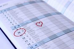 Jahrestag im Tagebuch stockfoto
