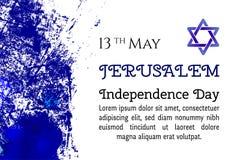 Jahrestag Israels 70, Jerusalem-Unabhängigkeitstag, festliches Grußplakat, jüdischer Feiertag, Jerusalem-Fahne Israeli Lizenzfreie Stockfotografie