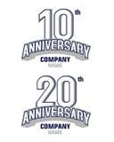 Jahrestag 10 Jahre und 20 Jahre Stockbilder