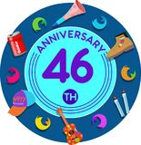 Jahrestag 46. Kunst der Illustration lizenzfreie abbildung