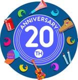 Jahrestag 20. Kunst der Kartenillustration vektor abbildung