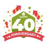 40 Jahrestag lokalisierte Ikonengeburtstagsfeier-Feuerwerksraketen lizenzfreie abbildung