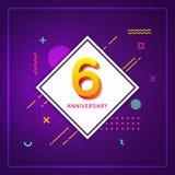 6. Jahrestag mit geometrischem abstraktem Hintergrund-Plakat Stockfotografie