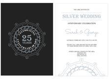 Jahrestag 25 mit silbernem Ausweis lizenzfreie abbildung