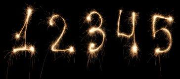 Jahrestag nummeriert Sparkler Lizenzfreies Stockfoto