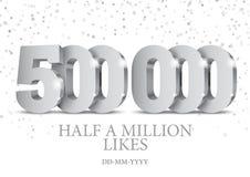 Jahrestag oder Ereignis 500000 silberne Zahlen 3d stock abbildung