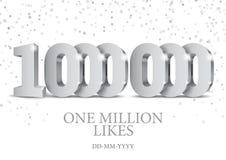 Jahrestag oder Ereignis 1000000 silberne Zahlen 3d lizenzfreie abbildung