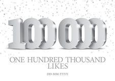 Jahrestag oder Ereignis 100000 silberne Zahlen 3d stock abbildung