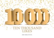 Jahrestag oder Ereignis 10000 Zahlen des Gold 3d vektor abbildung