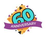 60 Jahrestag oder Geburtstag lokalisierte festliche Ikonenfeier lizenzfreie abbildung