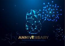 Jahrestag 8 Polygonale Jahrestagsgrußfahne Feiern der 8. Jahrestagsereignispartei rote, orange, gelbe Farben Niedriges Polygon lizenzfreie abbildung