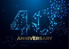 Jahrestag 40 Polygonale Jahrestagsgrußfahne Feiern der 40. Jahrestagsereignispartei Vektor-Feuerwerke Niedriges Polygon vektor abbildung