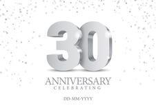 Jahrestag 30 silberne Zahlen 3d lizenzfreie abbildung