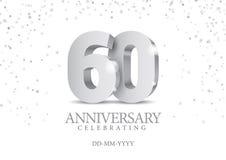 Jahrestag 60 silberne Zahlen 3d stock abbildung