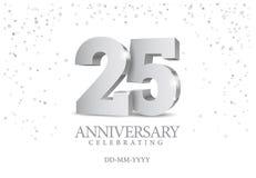 Jahrestag 25 silberne Zahlen 3d vektor abbildung