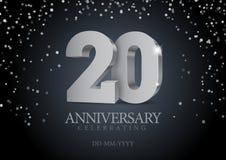 Jahrestag 20 silberne Zahlen 3d stock abbildung
