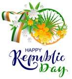 Jahrestag 70 Tag der Republik-Text-Grußkarte Indiens der glücklichen vektor abbildung