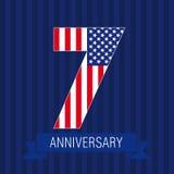 Jahrestag 7 US-Flagge stock abbildung