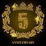 Jahrestag von 5 Jahren Stellen, Rahmen und Krone hergestellt in den Strudeln lizenzfreie abbildung