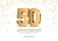Jahrestag 50 Zahlen des Gold 3d lizenzfreie abbildung