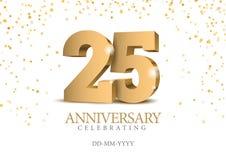 Jahrestag 25 Zahlen des Gold 3d lizenzfreie abbildung