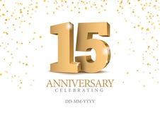 Jahrestag 15 Zahlen des Gold 3d vektor abbildung