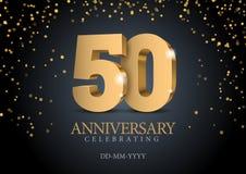 Jahrestag 50 Zahlen des Gold 3d stock abbildung