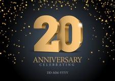 Jahrestag 20 Zahlen des Gold 3d stock abbildung